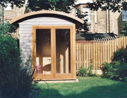 Small curved roof garden room stephen grover gardens for Tiny garden rooms